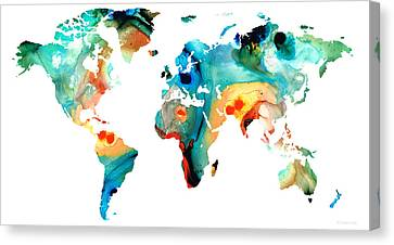 Map Of The World 11 -colorful Abstract Art Canvas Print by Sharon Cummings
