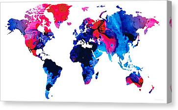 Map Of The World 9 -colorful Abstract Art Canvas Print by Sharon Cummings