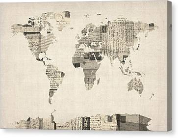 Map Of The World Map From Old Postcards Canvas Print by Michael Tompsett