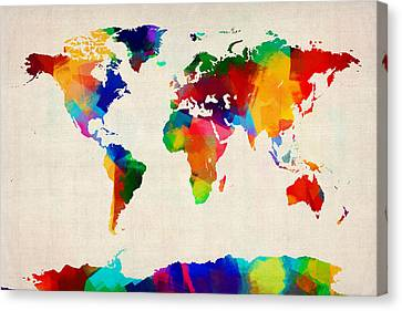 Map Of The World Map Canvas Print by Michael Tompsett