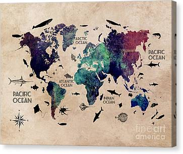 Map Of The World Oceans Canvas Print by Justyna JBJart