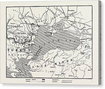 Map Of Turkey And Southern Russia Canvas Print by English School