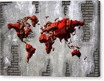 Map Of World Red Wood Canvas Print by Mihaela Pater