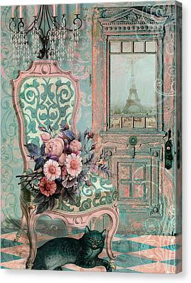 Marcie In Paris Canvas Print by Mindy Sommers