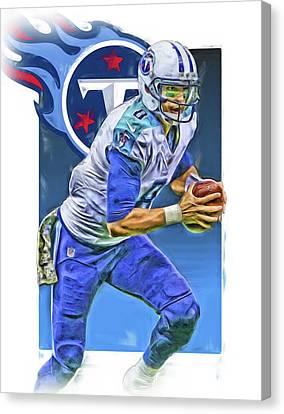 Marcus Mariota Tennessee Titans Oil Art 2 Canvas Print by Joe Hamilton