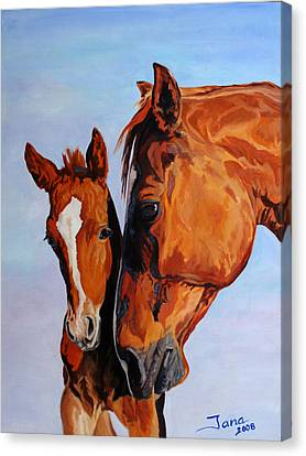 Mare And Foal Canvas Print by Jana Goode