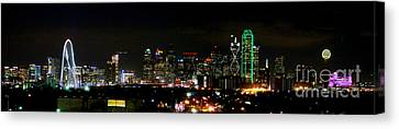 Margaret Hunt Hill Bridge And Dallas Skyline Canvas Print by Wendy Emel