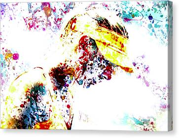 Maria Sharapova Paint Splatter 4p                 Canvas Print by Brian Reaves