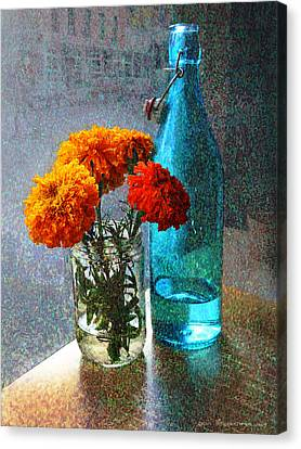 Marigolds Cafe Tabletop Canvas Print by R christopher Vest