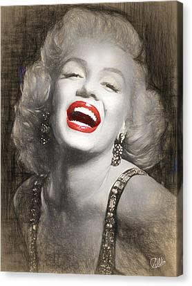 Marilyn Monroe Pencil Drawing Canvas Print by Quim Abella