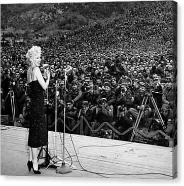Marilyn Monroe Entertaining The Troops In Korea Canvas Print by American School