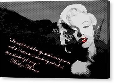 Marilyn Monroe Imperfection Is Beauty Canvas Print by Brad Scott