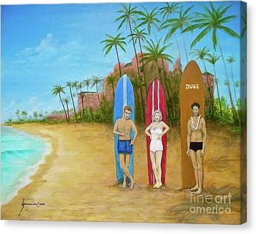 Marilyn Monroe And James Dean In Waikiki Canvas Print by Jerome Stumphauzer