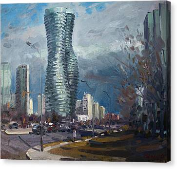 Marilyn Monroe Towers Mississauga Canvas Print by Ylli Haruni
