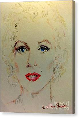 Marilyn In White Canvas Print by N Willson-Strader