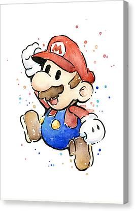 Mario Watercolor Fan Art Canvas Print by Olga Shvartsur