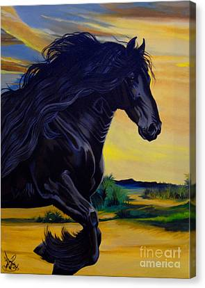 Friesian Paradise Canvas Print by Cheryl Poland