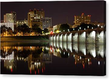 Market Street Bridge Reflections Canvas Print by Shelley Neff