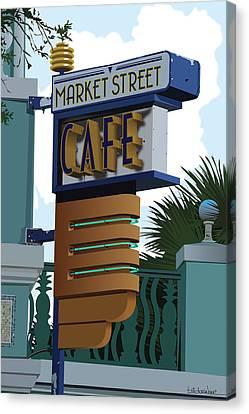 Market Street Cafe Canvas Print by Bill Dussinger