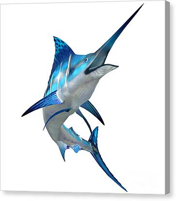 Marlin Fish On White Canvas Print by Corey Ford