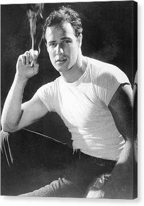 Marlon Brando, Portrait From A Canvas Print by Everett