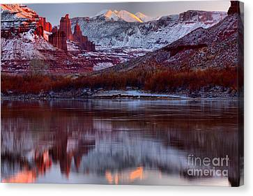 Maroon Fisher Towers Canvas Print by Adam Jewell