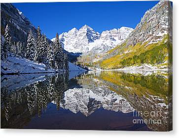 Maroon Lake And Bells 1 Canvas Print by Ron Dahlquist - Printscapes