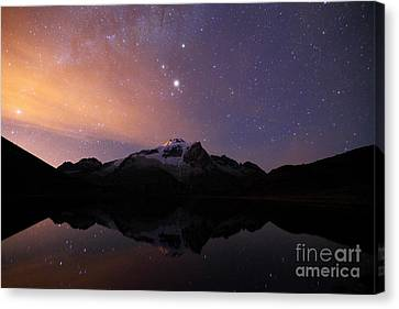 Mars Above Mt Huayna Potosi At Night Canvas Print by James Brunker