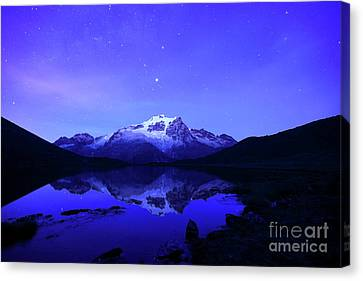 Mars Above Mt Huayna Potosi Before Dawn Canvas Print by James Brunker