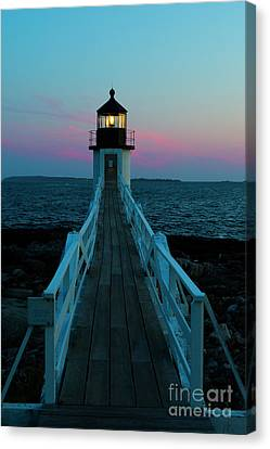 Marshall Point Lighthouse At Sunset Canvas Print by Diane Diederich