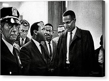 Martin Luther King Jr. Meets Malcolm X Painting In Hd Canvas Print by Jovemini ART