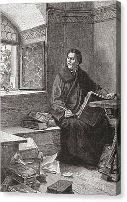 Martin Luther Translating The Bible At Canvas Print by Vintage Design Pics