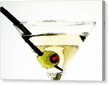 Martini With Green Olive Canvas Print by Sharon Cummings