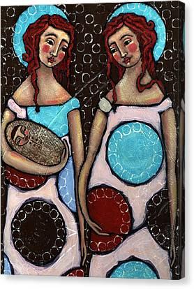 Mary And Elizabeth Canvas Print by Julie-ann Bowden