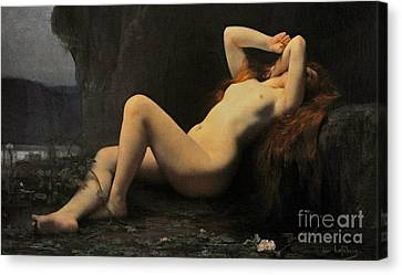 Mary Magdalene In A Grotto Canvas Print by Jules Joseph Lefebvre