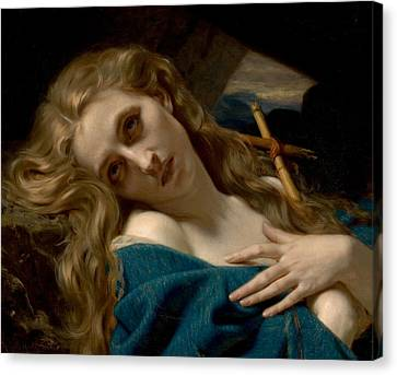 Mary Magdalene In The Cave Canvas Print by Hugues Merle