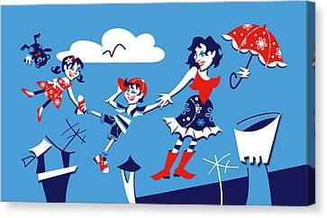 Mary Poppins - Children Book Illustration Canvas Print by Arte Venezia