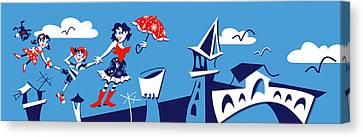 Mary Poppins Flying In Venice Skyline Canvas Print by Arte Venezia