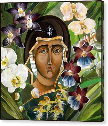 Mary With Orchids Canvas Print by Mary jane Miller