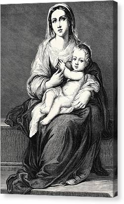 Mary With The Child Jesus Canvas Print by German School