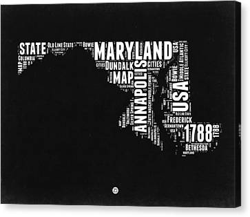 Maryland Black And White Map Canvas Print by Naxart Studio