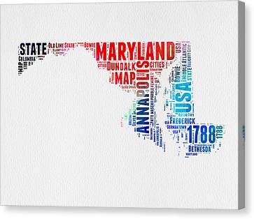 Maryland Watercolor Word Cloud  Canvas Print by Naxart Studio