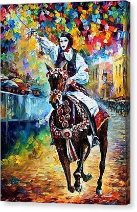 Masked Horseman - Palette Knife Oil Painting On Canvas By Leonid Afremov Canvas Print by Leonid Afremov