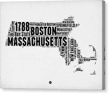 Massachusetts Word Cloud Map 2 Canvas Print by Naxart Studio