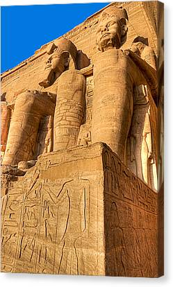 Massive Statues Of Ramses The Great At Abu Simbel Canvas Print by Mark E Tisdale