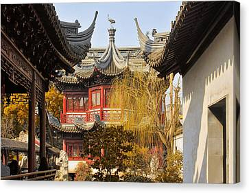 Massive Upturned Eaves - Yuyuan Garden Shanghai China Canvas Print by Christine Till