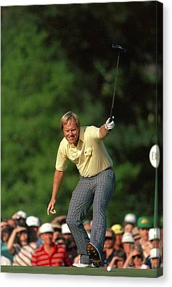 Masters Winning Put 1986 Jack  Nicklaus 1986 Canvas Print by Peter Nowell