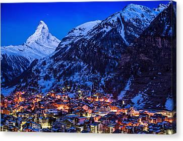 Matterhorn At Night Canvas Print by Weerakarn Satitniramai