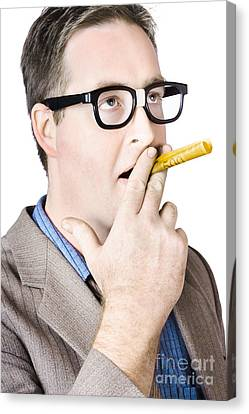 Mature Man Smoking With Banknote Canvas Print by Jorgo Photography - Wall Art Gallery