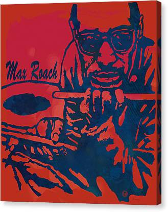 Max Roach Pop  Stylised Art Sketch Poster Canvas Print by Kim Wang